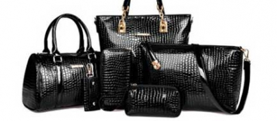 Set of 6 Black Croc-Skin Pattern Bags & Wallet (50% Off!)