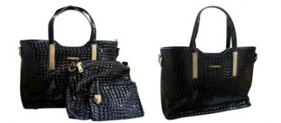 Set of 3 Black Crocodile Skin Pattern Bags (55% Off!)