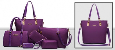 Set of 6 Purple Nylon Bags and Wallet (50% Off!)