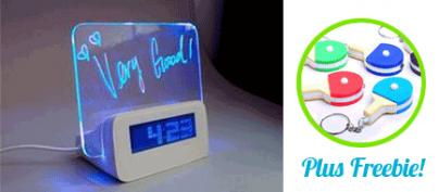 Wonderful 3-in-1 LED Note Board  / Clock / 4 Port USB Hub (39% Off!)